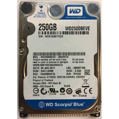 Hard disk laptop 250GB IDE Western Digital Scorpio Blue  5400rpm  WD2500BEVE00A0HT0