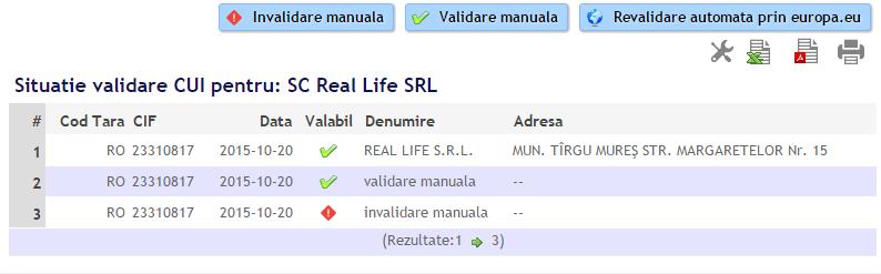 validare manuala CIF pentru clienti si istoric vericari