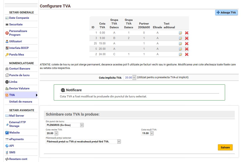 schimbare cota TVA la toate produsele