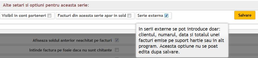 definire serie externa pentru facturi
