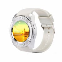 Ceas smartwatch V8-cartela SIM-camera-1.3 inch HD touchscreen-alb