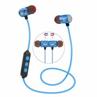 Casti bluetooth E2 magnetic wireless,blue