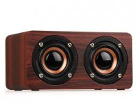 Boxa portabila bluetooth Retro Wood ,Utra Bass ,maro