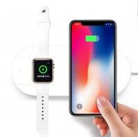 Incarcator wireless dual  pentru Appel telefon si ceas -alb