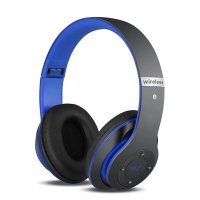 Casti bluetooth Usmart S6 Wireless ,Super Bass, izolare zgomot ,TF card-blue