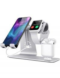 Incarcator wireless QI, 3 in 1, pentru telefon, ceas si casti, Fast Charge