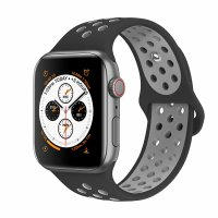 Curea Apple Watch 42-44 mm ,silicon black-gray ,compatibil seria 1/2/3/4/5