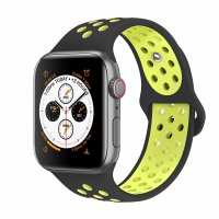 Curea Apple Watch 42-44 mm ,silicon black-green ,compatibil seria 1/2/3/4/5