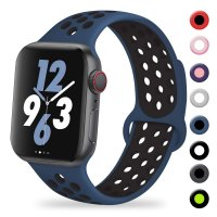 Curea Apple Watch 38-40 mm ,silicon black-blue ,compatibil seria 1/2/3/4/5