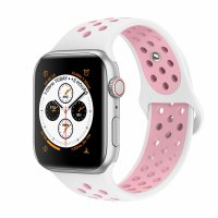 Curea Apple Watch 42-44 mm ,silicon white pink ,compatibil seria 1/2/3/4/5