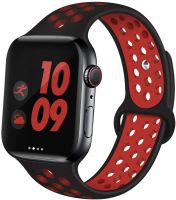 Curea Apple Watch 42-44 mm ,silicon black-red ,compatibil seria 1/2/3/4/5