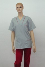 Uniforma medicala unisex - gri cu rosu