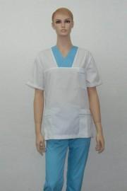 Uniforma medicala unisex - alb cu turcoaz