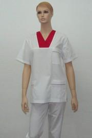 Uniforma medicala unisex - alb cu rosu