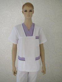 Uniforma medicala unisex- alb cu mov 1 si paspol 592