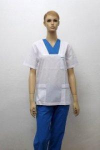 Uniforma medicala unisex- alb cu albastru cerneala