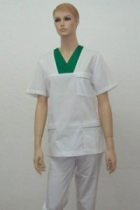 Uniforma medicala unisex - alb cu verde iarba