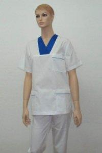 Uniforma medicala unisex - alb cu albastru cerneala