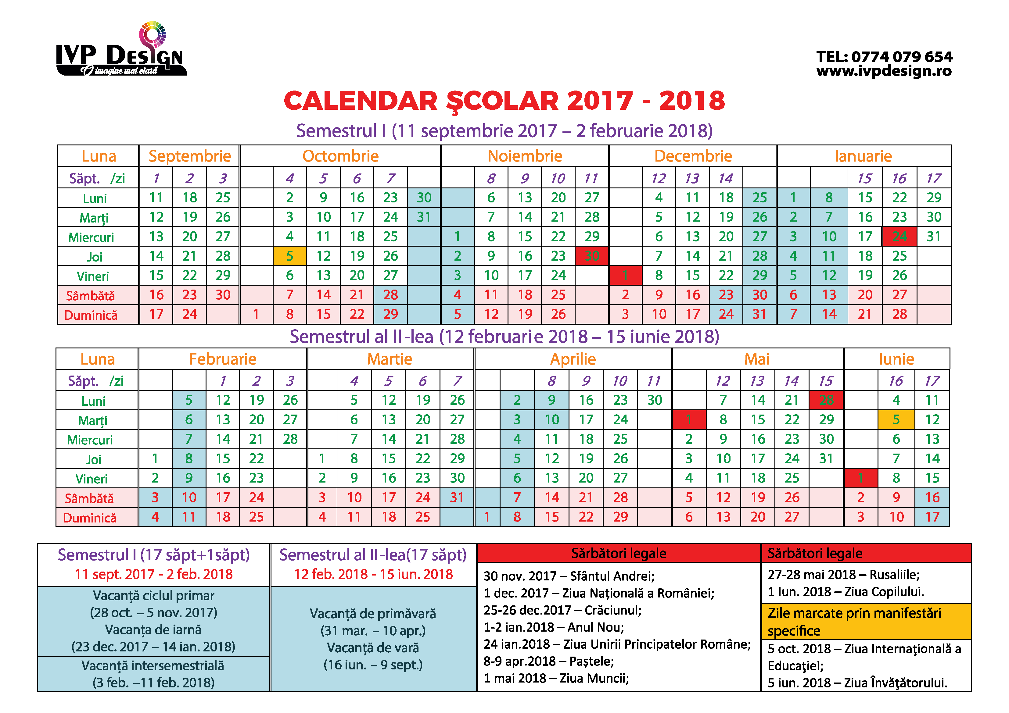 CALENDAR ŞCOLAR 2017 - 2018