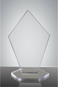 Trofeu sticla acrilica pentagon
