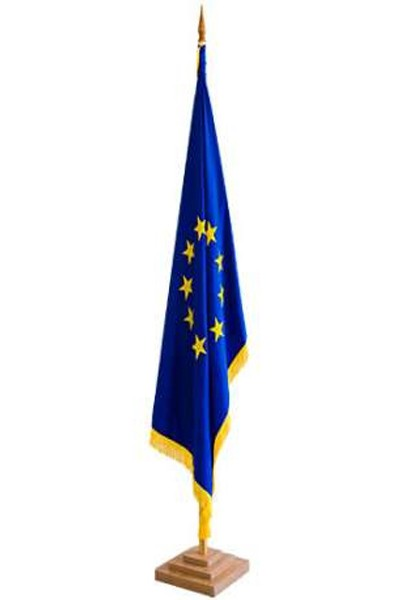 Drapel Romania/ UE / NATO dublu cu franjuri
