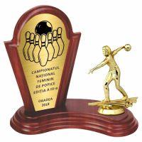 Trofeu lemn WF402+Figurină Jucatoare Bowling F6552