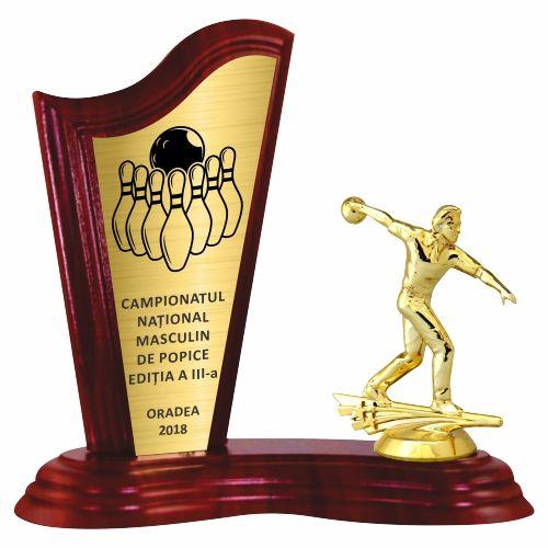 Trofeu lemn WF411Figurina Jucator Bowling Barbat 6551 M