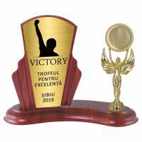 Trofeu lemn WF408+Figurină  VICTORY F32