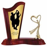 Trofeu lemn WF411+Figurină F198G Dance