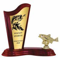 Trofeu lemn WF411+Figurină pește F246