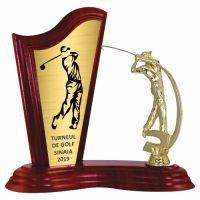 Trofeu lemn WF411+Figurină Golf F222
