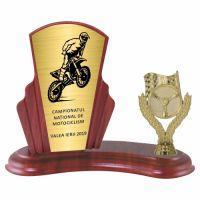 Trofeu lemn WF408+Figurină motociclism F229