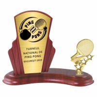 Trofeu lemn WF408+Figurină Tenis de masă F277