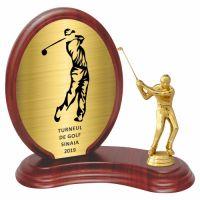 Trofeu lemn WF406+Figurină Jucător Golf 593