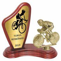 Trofeu lemn WF405+Figurină Biciclist F08