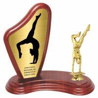 Trofeu lemn WF405+Figurină Gimnastă F8337