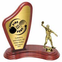Trofeu lemn WF405+Figurină Tenis de Masă F18
