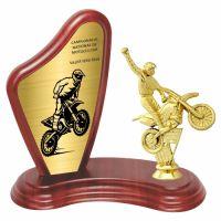 Trofeu lemn WF405+Figurină Motociclist F180