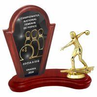 Trofeu lemn WF402Figurina Jucatoare Bowling 6552 UV