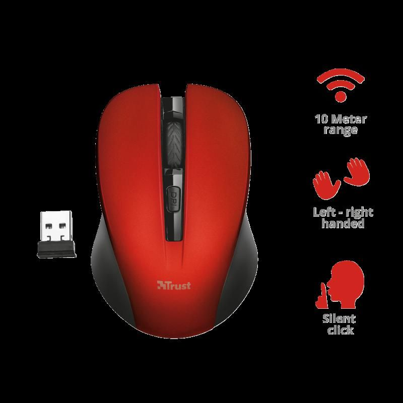 Trust Mydo Silent Click Wi Mouse Red