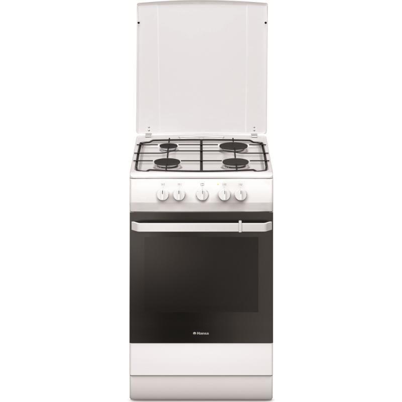 Aragaz Hansa FCGW510009D1, 4 arzatoare, dispozitiv de siguranta arzatoare, cuptor gaz cu dispozitiv de siguranta, 58l, cuptor usa rece, compartiment tavi, 85x50x60 cm, culoare: alb