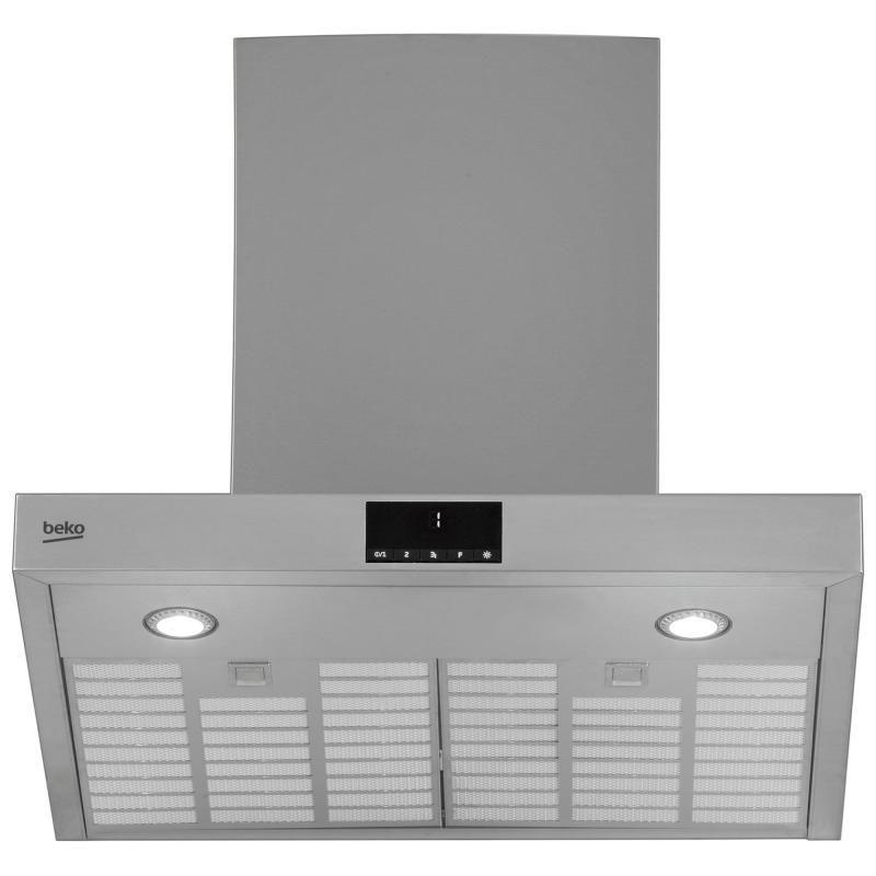 Hota de bucatarie decorativa Beko HCB61734BX Tshape, montare pe perete, capacitate max. de absorbtie - setare intensiv: 680 (m3/h), motor BLDC, 3 trepte deviteza+Booster, control electronic, display LED alb - 7 segmente, iluminare LED 2x4W, 2 filtre anti-
