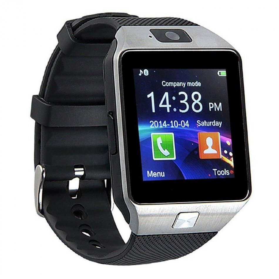 Ceas Smartwatch cu Telefon TechONE™ DZ09 Upgrade, slot sim, foto, bluetooth, slot card SD, Whatsapp, Facebook, compatibil Android si IOS, Argintiu