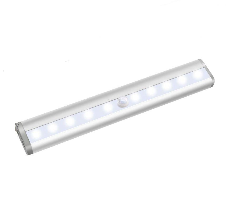 Lampa LED cu senzor de miscare, Huerler® L802B, din aluminiu, 10 led-uri puternice, fara fir, cu acumulator, cu suport magnetic, pentru dressing, dulap de bucatarie, baie, hol, scari, portabila, 19 cm, lumina calda