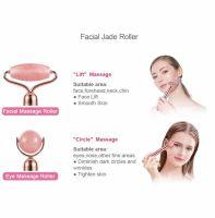 Rola masaj Jad 2 in 1, Horigen™ Jade Pro, masaj facial si corporal, cu vibratii, 2 accesorii, saculet depozitare inclus, roz