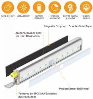 Lampa LED cu senzor de miscare, Huerler® L0406, din aluminiu, 10 led-uri puternice, fara fir, cu baterii, cu suport magnetic, pentru dressing, dulap de bucatarie, baie, hol, scari, portabila, 19 cm, lumina calda
