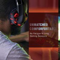 Casti gaming profesionale Runmus® K2Pro, cu microfon, 7.1 surround HD, microfon cu anulare zgomot de fond, cu lumina led, pentru PC, PS4, Xbox, Nitendo, difuzor 50mm, 116dB, rosu