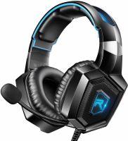 Casti gaming profesionale Runmus® K8, cu microfon, sistem surround HD, microfon cu anulare zgomot de fond, cu lumina led, pentru PC, PS4, Xbox, Nitendo, difuzor 50mm, 106dB, albastru