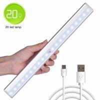 Lampa LED cu senzor de miscare, Huerler® L0406+, din aluminiu, 20 led-uri puternice, fara fir, cu acumulator, cu suport magnetic, pentru dressing, dulap de bucatarie, baie, hol, scari, portabila, 36 cm, lumina calda