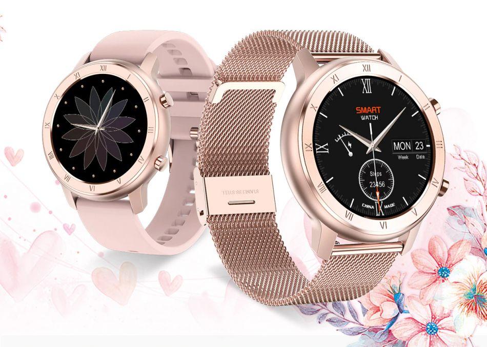 Ceas smartwatch femei TechONE™ DT89, ecran 1.2 inch Full HD, monitorizare menstruatie, ritm cardiac, ECG, nivel oxigen sange, rezistent la apa IP68, senzor Bosch, bratara fitness, Notificari, Vibratii, stand by 7 zile, sporturi multiple, Auriu